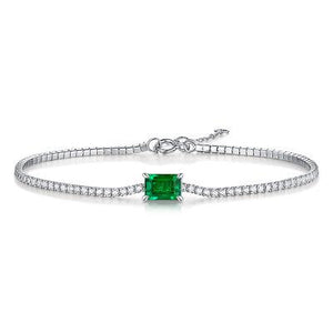 Hellojewelr Elegant Emerald Cut Bracelet for Women In Sterling Silver
