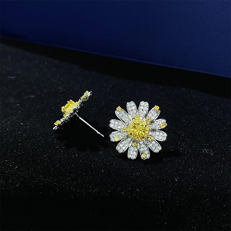 Unique Sun Flower Design Yellow Stone Cushion Cut Stud Earrings In Sterling Silver