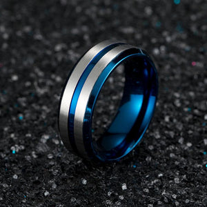 Hellojewelr Two Row Design Brushed Plating Stainless Steel Men's Wedding Band