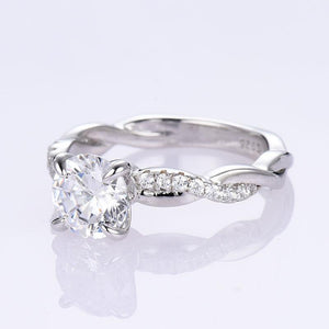 Hellojewelr Sterling Silver Twist 1.0 Carat Round Cut Engagement Ring
