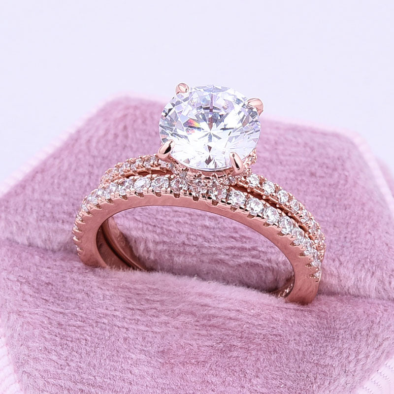 Hellojewelr Classic Rose Gold 2.0 Carat Round Cut Bridal Set