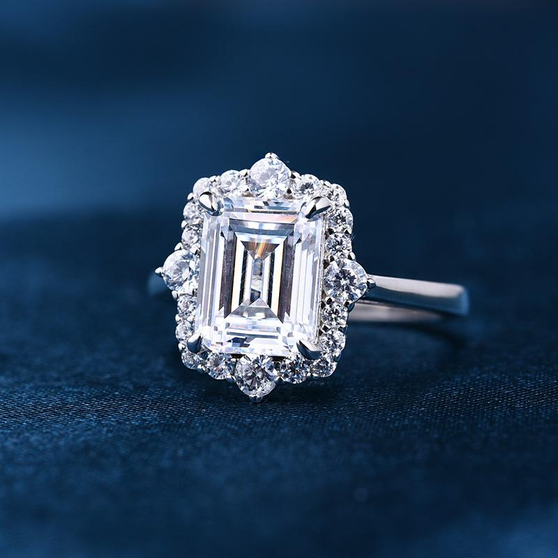 3.0 Carat Halo Emerald Cut Engagement Ring In Sterling Silver