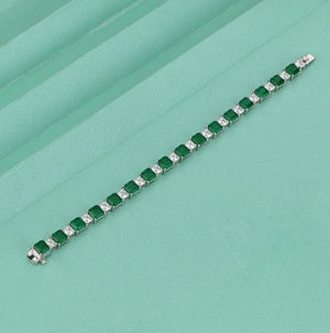 Hellojewelr Elegant Emerald Cut 2 Tone Bracelet for Women In Sterling Silver