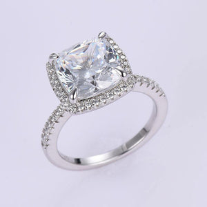 Hellojewelr Sterling Silver 5.0 Carat Cushion Cut Halo Engagement Ring