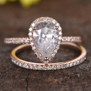 Hellojewelr Rose Gold 3.0 Carat Pear Cut White Stone Bridal Set
