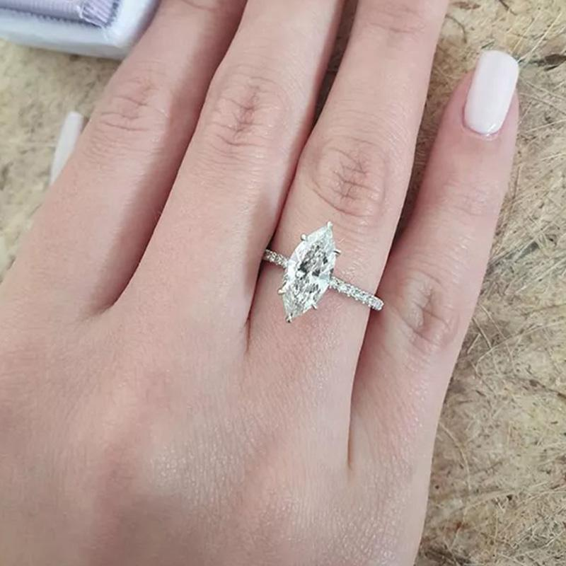 1.5 Carat Marquise Cut Women's Engagement Ring In Sterling Sliver