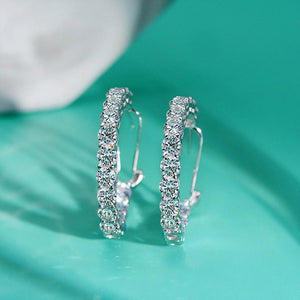 Hellojewelr Sterling Silver Classic Round Cut Hoop Earrings