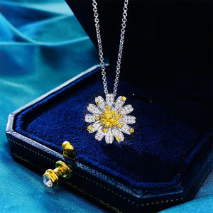 Lively Yellow Sapphire Cushion Cut Pendant Necklace In Sterling Silver
