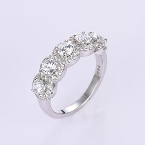 Hellojewelr Sterling Silver Fashion Halo Five Stone Anniversary Ring