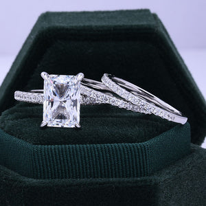 Hellojewelr Sterling Silver 5.0 Carat Radiant Cut White Stone Wedding Set