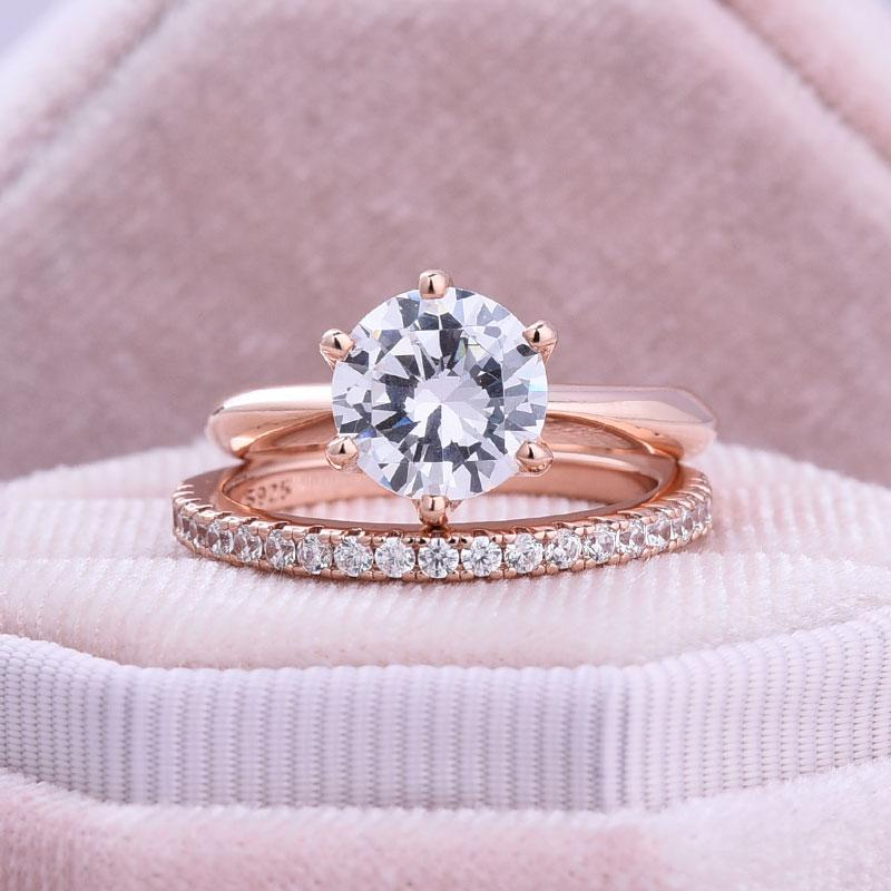 Hellojewelr Rose Gold Classic 2.0 Carat Round Cut Wedding Ring Set