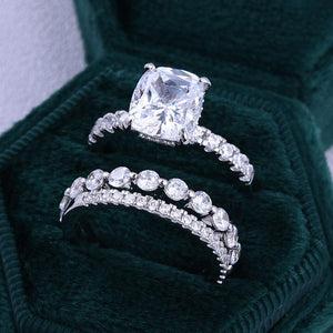 Hellojewelr Gorgeous 5.0 Carat Cushion Cut 3PC Wedding Set In Sterling Silver