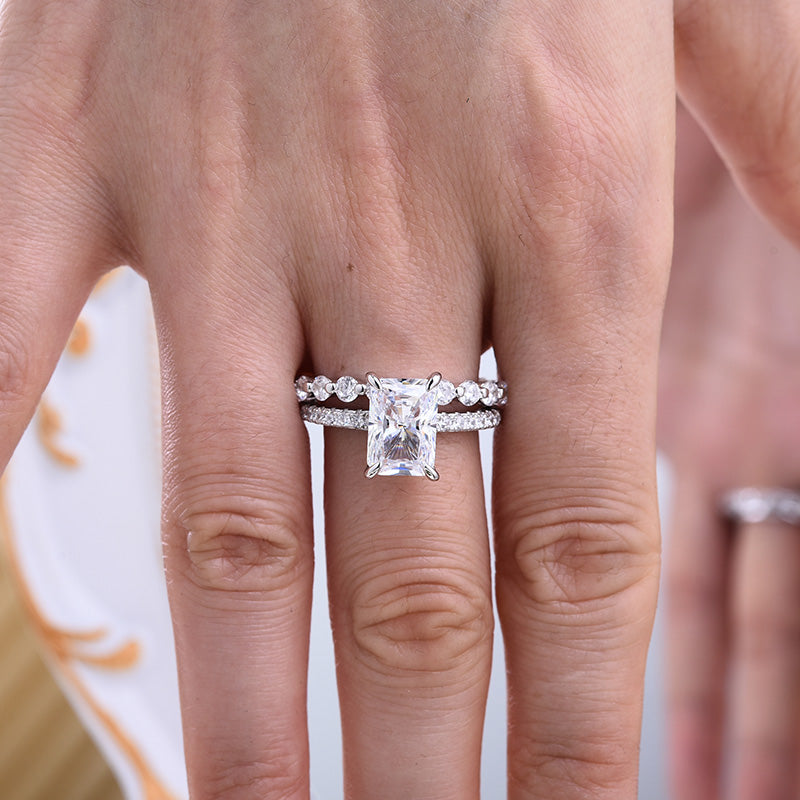 Hellojewelr Stunning Radiant Cut  Bridal Ring Sets In Sterling Silver