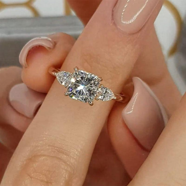 2.0 Carat Princess Cut Three Stone Women's Engagement Ring In Sterling Silver