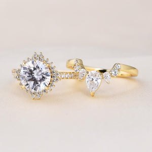 Yellow Gold Unique Flower Halo Design Round Cut Wedding Set In Sterling Silver