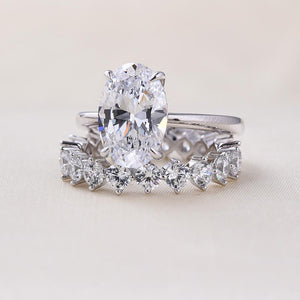 Oval Cut Simulated Diamond Solitaire Wedding Set In Sterling Silver