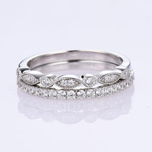 Hellojewelr Sterling Silver Art Deco Half Eternity Stackable Women's Band Set