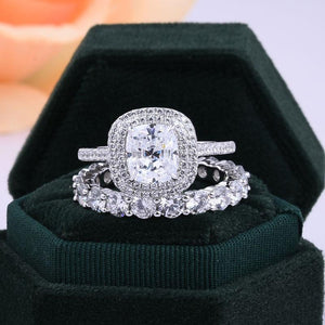 Hellojewelr Sterling Silver Double Halo Cushion Cut Bridal Set