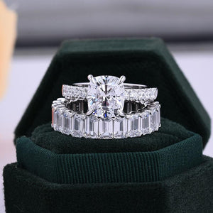 Hellojewelr Sterling Silver 3.0 Carat Cushion Cut Bridal Set