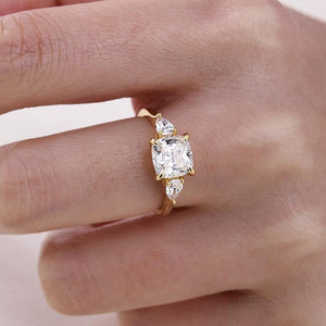 Yellow Gold 1.5 Carat Cushion Cut Three Stone Engagement Ring In Sterling Silver