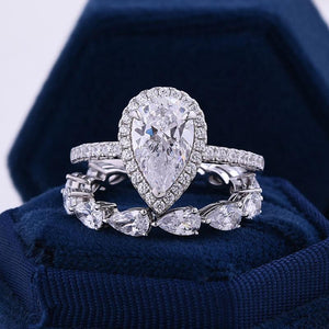 Hellojewelr Unique 2.2 Carat Pear Cut Halo Wedding Set In Sterling Silver