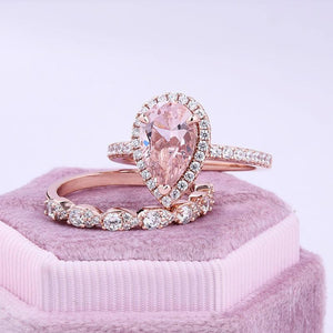 Special Rose Gold Halo Pear Cut Synthetic Morganite Wedding Ring Set