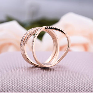 Rose Gold Fashion X Criss-Cross Design Wide Women's Wedding Band In Sterling Silver