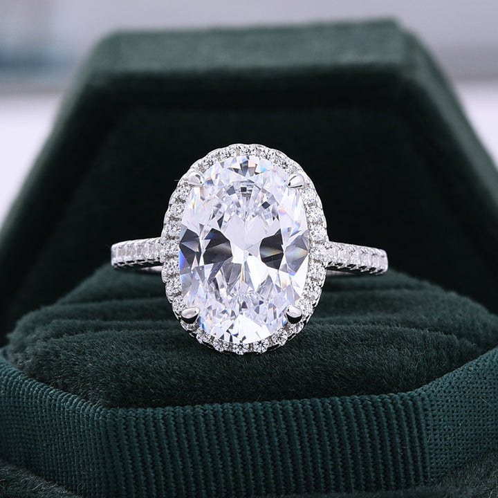 Halo Oval Cut sona simulated diamond Engagement Ring In White Gold