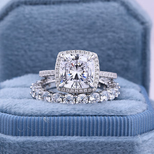 Amazing 3.2 Carat Cushion Cut Halo Wedding Set In Sterling Silver