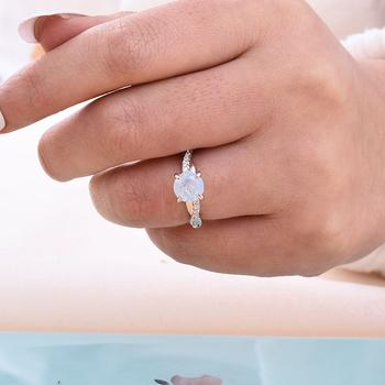 Hellojewelr Moon Stone Twist Round Cut Engagement Ring In 925 Sterling Silver