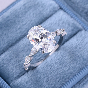 3.5 Carat Oval Cut Simulated Diamond Engagement Ring In Sterling Silver