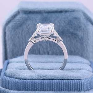 Classic Emerald Cut White Sapphire Women's Engagement Ring In Sterling Silver