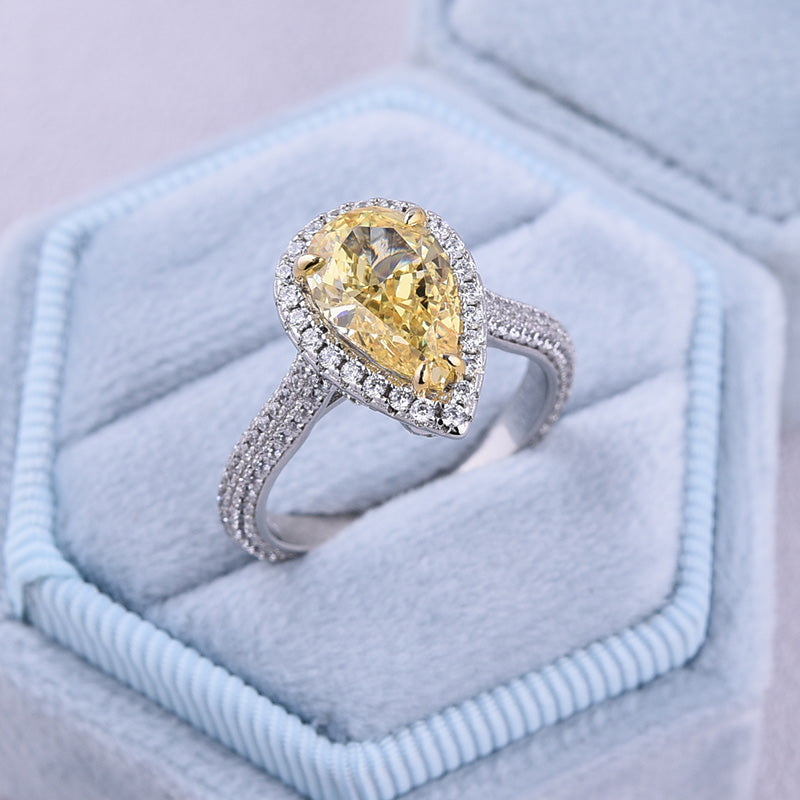 3.0 Carat Halo Pear Cut Sona Simulated Diamonds Yellow Sapphire Engagement Ring In Sterling Sliver