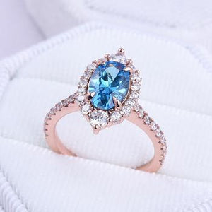 Hellojewelr Oval Cut 1.5 Carat Aquamarine Stone Rose Gold Engagement Ring