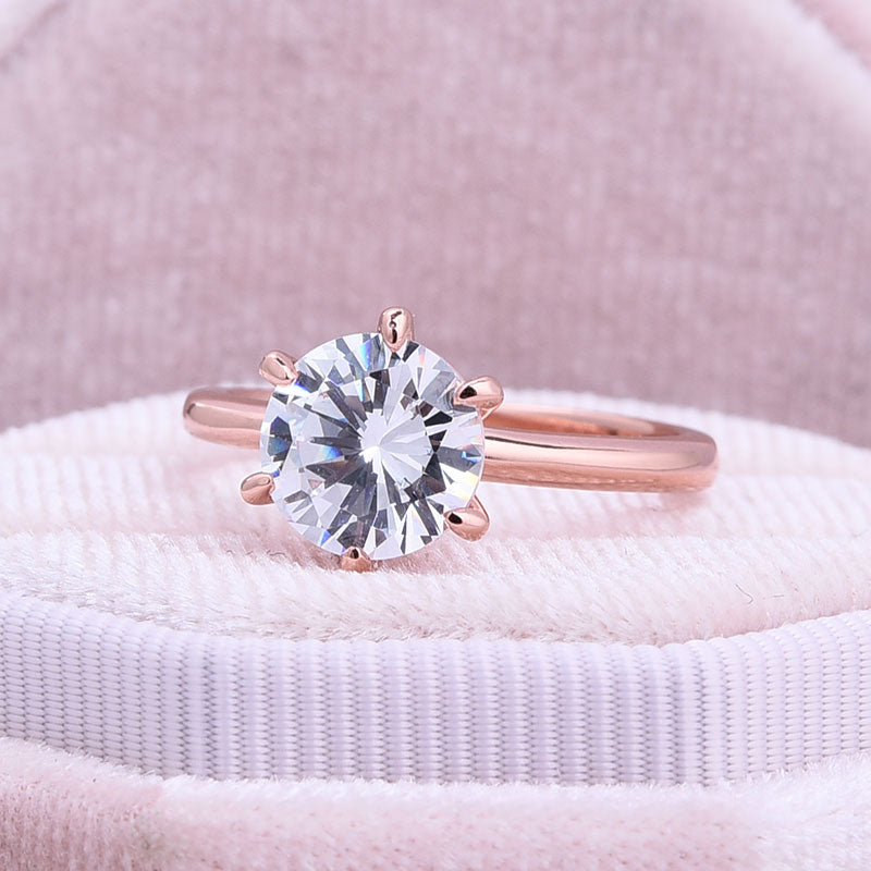 Hellojewelr Rose Gold Classic 2.0 Carat Round Cut Solitaire Engagement Ring