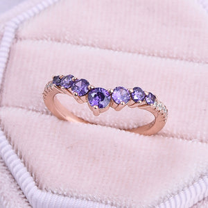 Hellojewelr Rose Gold Amethyst Purple Thin Wedding Band In Sterling Silver