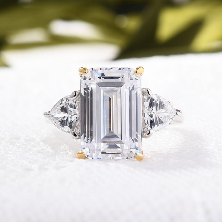 Hellojewelr Sterling Silver Emerald Cut Three Stone Engagement Ring