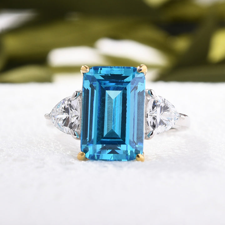 Sterling Silver Aquamarine Emerald Cut Three Stone Engagement Ring