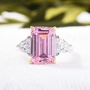 Hellojewelr Sterling Silver Pink Sapphire Emerald Cut Three Stone Engagement Ring