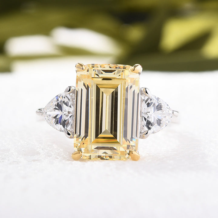 Hellojewelr Sterling Silver Yellow Sapphire Emerald Cut Three Stone Engagement Ring
