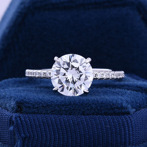 Hellojewelr Classic 2.0 Carat Round Cut Hidden Halo Engagement Ring