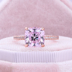 Hellojewelr Rose Gold Light Pink Cushion Cut Engagement Ring with Hidden Halo Design