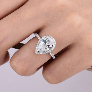 Hellojewelr Halo 2.2 Carat Pear Cut Engagement Ring In Sterling Silver