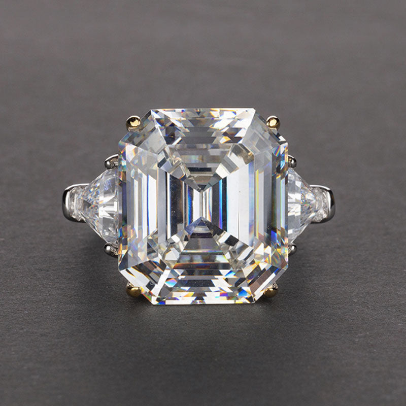 Hellojewelr Sterling Silver 7.0 Ct Radiant Cut Emerald Cut Engagement Ring