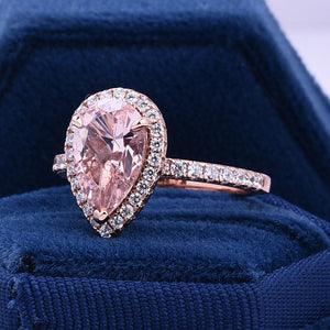 Hellojewelr Rose Gold Halo 3.0 Carat Pear Cut Synthetic Morganite Engagement Ring