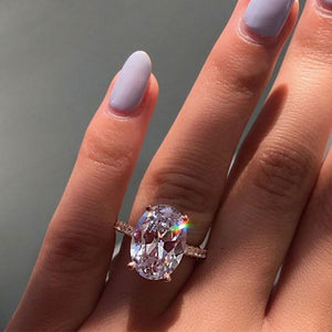 Hellojewelr Rose Gold 3.5 Carat Oval Cut White Stone Engagement Ring