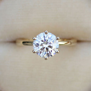 Hellojewelr Yellow Gold Classic 2.0 Carat Round Cut Solitaire Engagement Ring