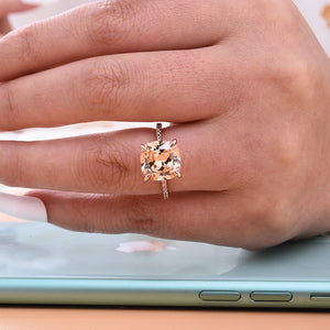 Hellojewelr 5.0 Carat Cushion Cut Hidden Halo Champagne Engagement Ring
