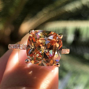 Hellojewelr Rose Gold 4.0 Carat Cushion Cut Champagne Stone Engagement Ring