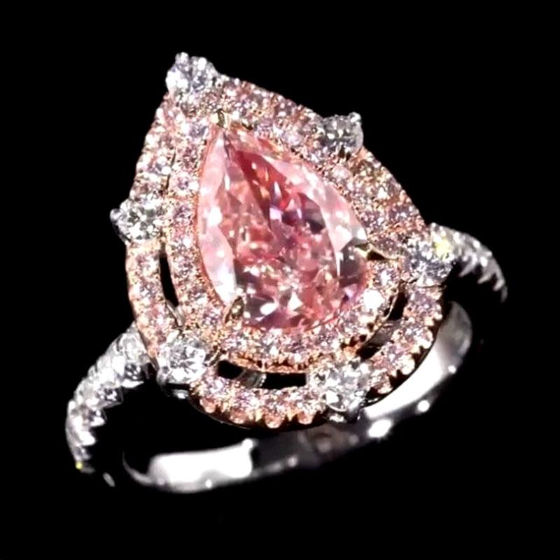 Hellojewelr Royal Romantic Pink 2.0 Carat Pear Cut Double Halo Engagement Ring